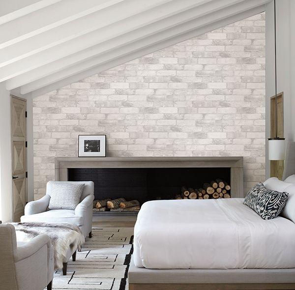 Reclaimed Bricks White Rustic Wallpaper  This White Brick Wallpaper Is The  Perfect Way To Brighten A Room And Add Character. Create An Accent Wall In  Your ...