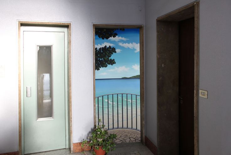 """ambientazione trompe l'oeil """"balconcino sul mare""""   www.panizza.info"""