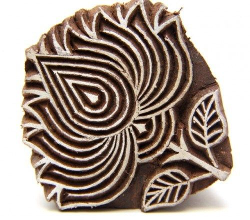 Lotus Flower Indian Wooden Block Stamp Hand Carved for Henna designs   catfluff - Craft Supplies on ArtFire