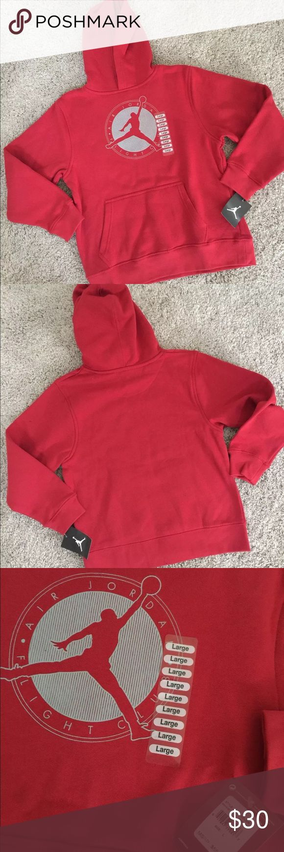 New Boys Nike Red Air Jordan Flight Sweatshirt L Brand new with tags Nike Air Jordan red hooded pullover sweatshirt. Grey silhouette with AIR JORDAN FLIGHT CLUB around the circle. Front pocket. Size Large (12-13 years). MSRP $55. Nike Shirts & Tops Sweatshirts & Hoodies