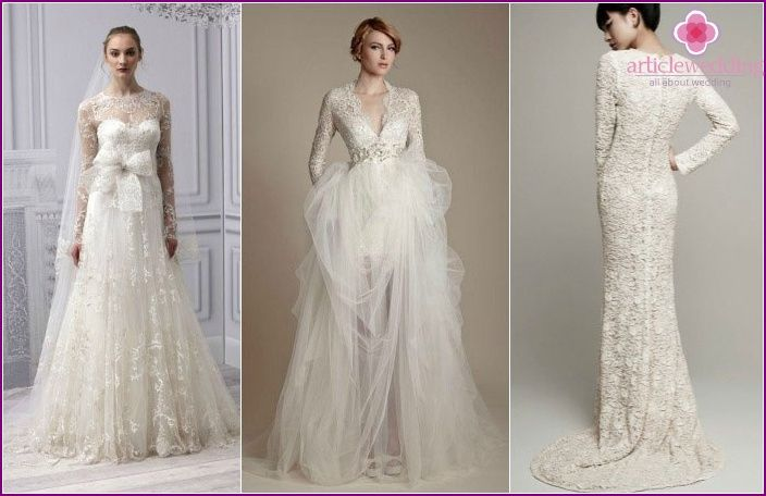 Esküvői ruhák ujjakkal (fotó): hosszú, rövid, háromnegyedes