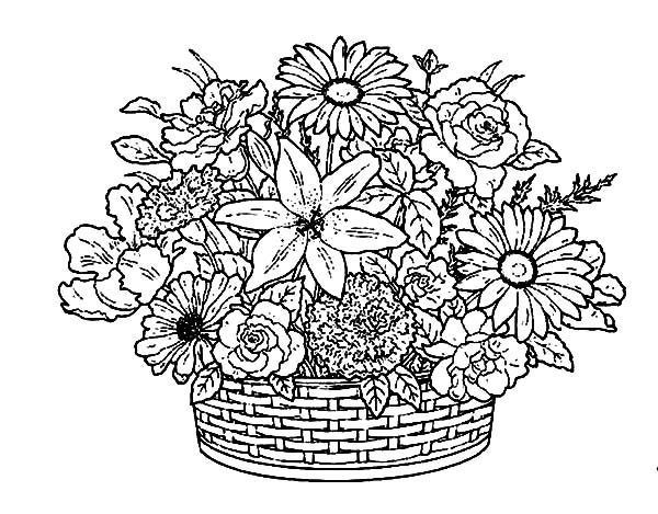Basket Of Flowers Coloring Pages Dibujos Para Colorear Adultos
