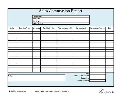 Sales commission report for download in Adobe PDF format can be used to keep track of sales for salespersons or a sales company.