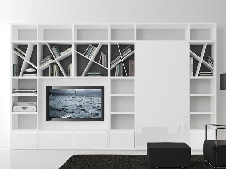 Parete attrezzata componibile laccata con porta tv COMP 318 Collezione Pari
