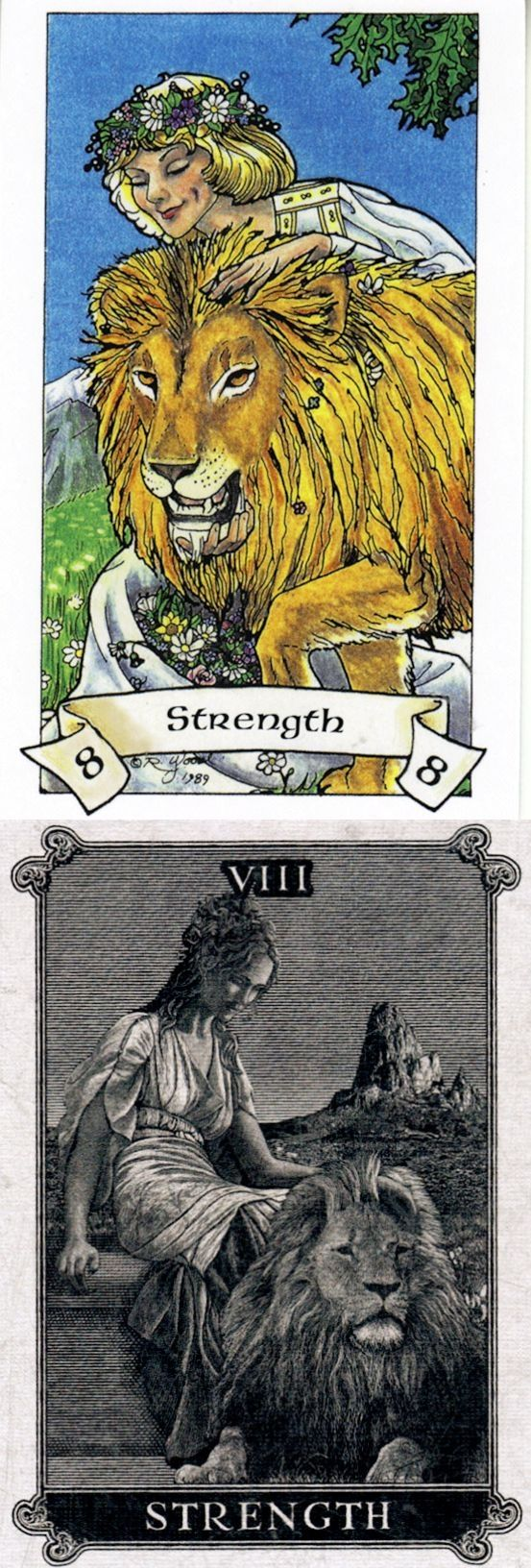STRENGTH: inner understanding that radiates power and weakness (reverse). Robin Wood Tarot deck and Arcana Tarot Tarot deck: free tarot reading predictions, tarot psychic vs best free tarot reading online. The best cartomancy meanings playing cards and goth girl. #ios #android #divination #goth #halloween2017 #spell