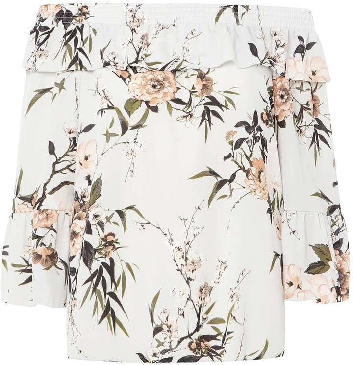 Dorothy Perkins **Tall Grey Floral Print Bardot Top