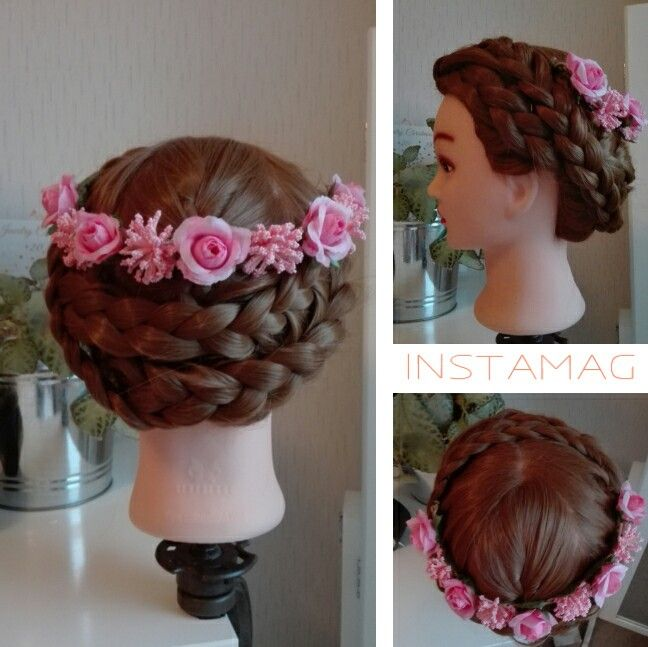 Braided updo with pink flowers