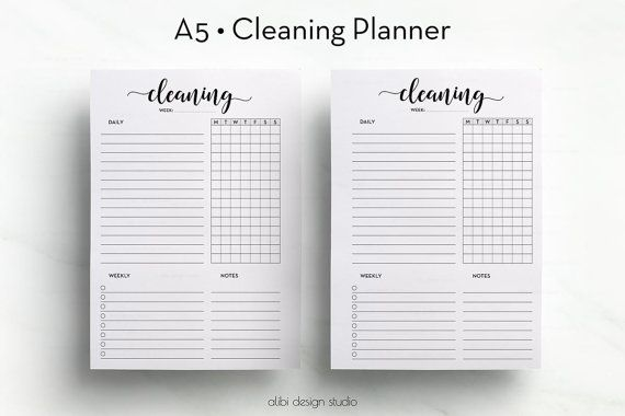 Cleaning Schedule • A5 Cleaning Planner • Cleaning Organizer • Printable Planner Inserts • Cleaning Checklist • A5 Cleaning Printable