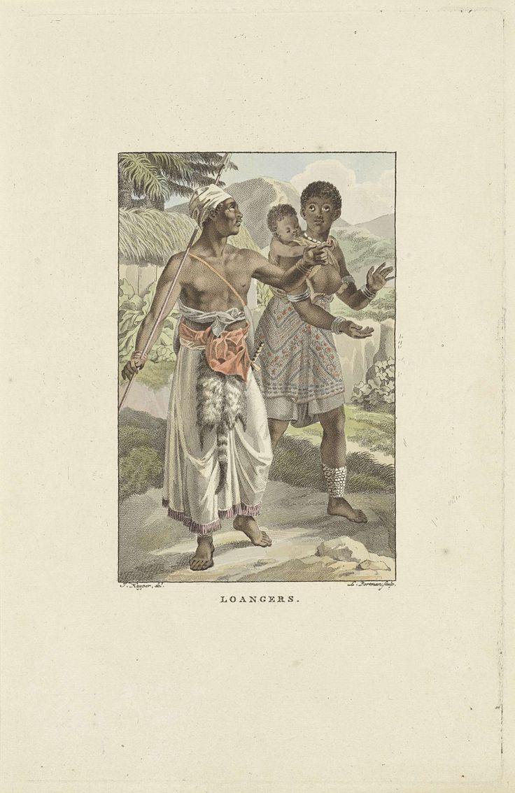 Ludwig Gottlieb Portman | Bewoners van de Loango-Angola kust, Ludwig Gottlieb Portman, 1806 | Een vrouw, met haar kind op de rug, betoont haar man respect door voor hem in haar handen te klappen. De man heeft een speer in de hand. Ze dragen traditionele kleding.