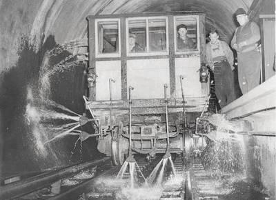 In 1952, Chicago's subway tunnels were washed using specially adapted trains. Today, they're power-washed from the platforms. (Posted on the Chicago L group on Facebook by Joe Kopera)