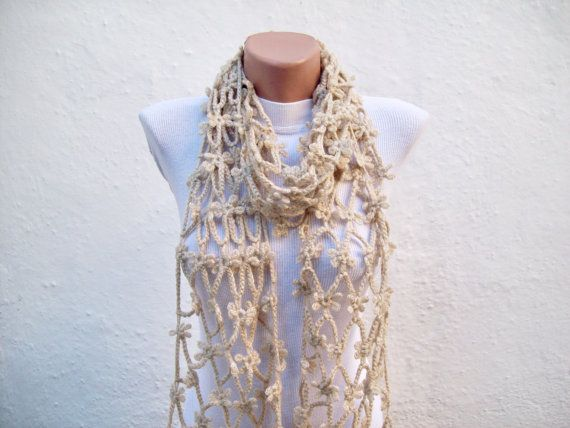 Hand crochet  Scarf  Light Brown  Long  Winter by nurlu on Etsy, $25.00