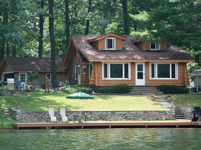 pinterest cabin waterfront waterfront log cabin for sale on lake george in northern michigan
