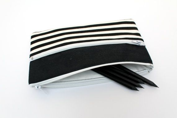Sale! Black and White Striped Pencil Case/ Makeup Bag 19cm x 11.7cm With Two Zippers
