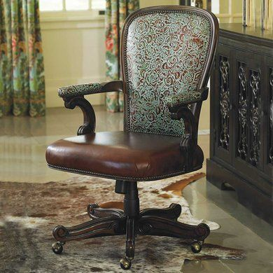 Turquoise Leather Office Chair   King Ranch