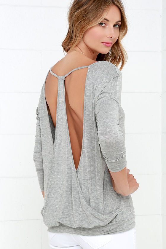 Drop It Low Grey Long Sleeve Top Sponsored by Lulus.com