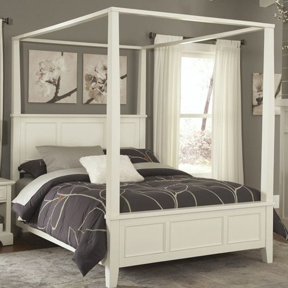 King size Contemporary Canopy Bed in White Wood Finish - Quality House