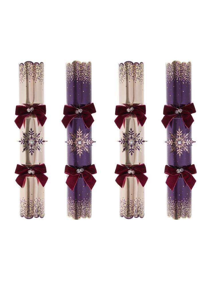 Linea Pack Of 6 Purple Snowflake Crackers