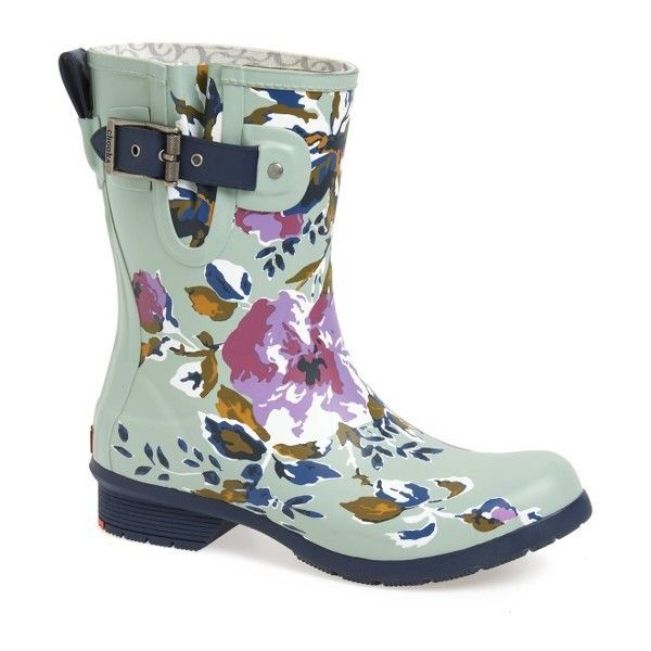 Women's Chooka Alice Mid Rain Boot (4.515 RUB) ❤ liked on Polyvore featuring shoes, boots, sage, rubber boots, lined rain boots, lined rubber boots, chooka boots and chooka shoes