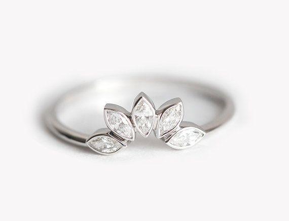 Anello di nozze di diamante, Diamond Wedding Band, banda di diamante oro bianco, Marquise Diamond Crown anello di corrispondenza di corrispondenza