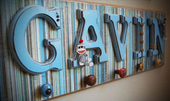 Custom Boy Name, Wooden Nursery Letters For Boy Room Decor
