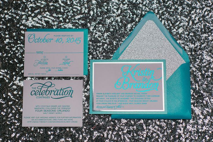 NICOLE Suite Fancy Glitter Package, peacock and silver, silver glitter, teal foil stamping, bright modern wedding invitations, jewel tones