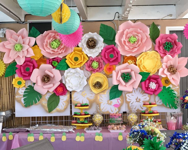 Moana Party..Pool party .. Hawaiian Luau .. Summer party ..Party Candy / Dessert / Cake and Photo booth Paper Flower Backdrop party decoration