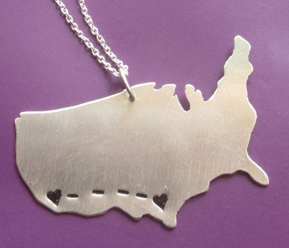 Long Distance Love/friendship Customizable Necklace. OK. That's really cute.