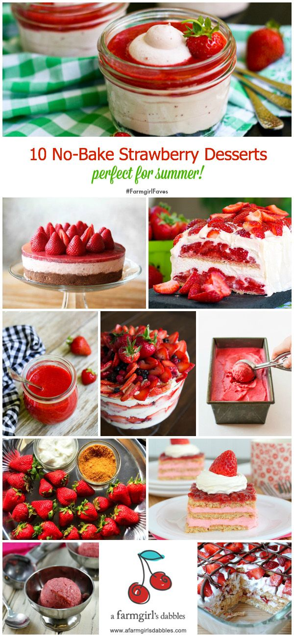 10 No-Bake Strawberry Desserts from @Brenda Franklin Score | a farmgirls dabbles