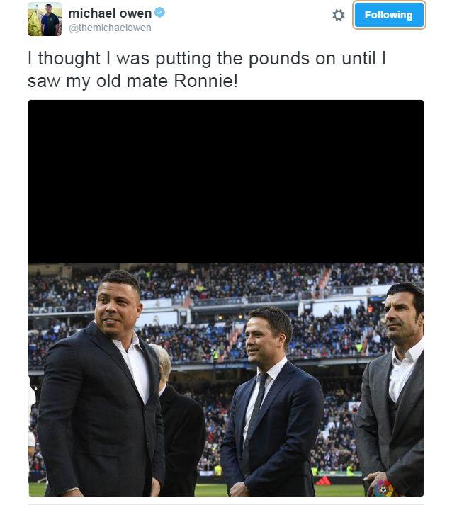 """Owen, após encontro com Ronaldo: """"E eu pensava que estava acima do peso"""" #globoesporte"""