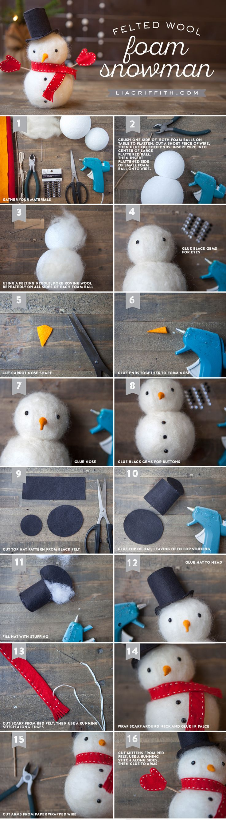 Snowman crafts - felted snowman tutorial                                                                                                                                                      More