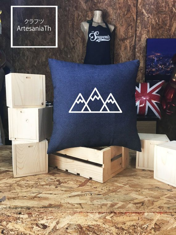 Mountain Pillow cover Jean cotton canvas Cushion by ArtesaniaTh