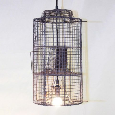C19TH WIRE WORK FISH TRAP NOW WIRED AS A CEILING LIGHT H410 L200 D200