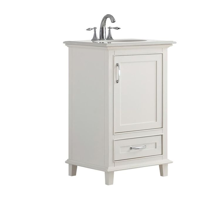 Simpli Home 21 in. W x 19 in. D x 34.5 in. H Vanity in Soft White with Engineered Stone Vanity Top in Bombay White with White Basin