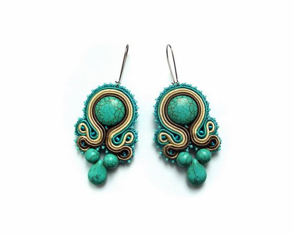 Soutache wedding or eavening earrings - elegant, classy and unusual - perfect…