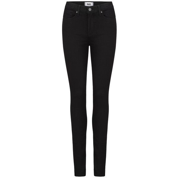 Paige Denim Hoxton Transcend Skinny Jeans - Black Shadow (335 CAD) ❤ liked on Polyvore featuring jeans, pants, bottoms, trousers, calças, black shadow, highwaist jeans, high rise jeans, high rise skinny jeans and skinny leg jeans