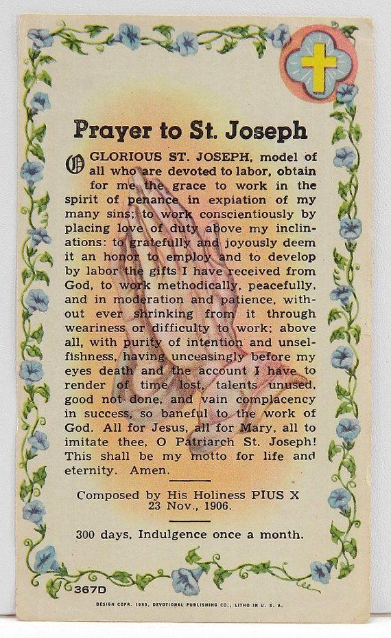 Prayer to St. Joseph Vintage Holy Card, 1953 by Pope Pius X - Indulgence 1 x Mo. 13960
