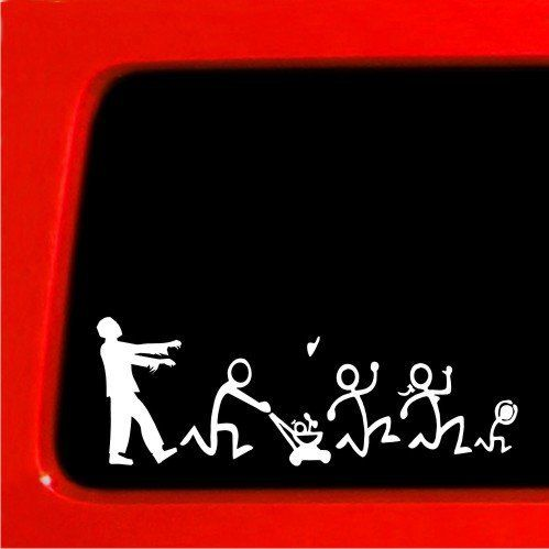 Zombie Stick Figure Family Nobody Cares truck funny stickers car decal  blank by Sticker Connection,