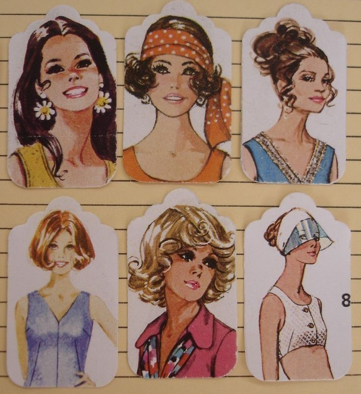 Ladies+of+70s+fashion++small+gift+tags++12+by+thriftypyg+on+Etsy,+$4.50