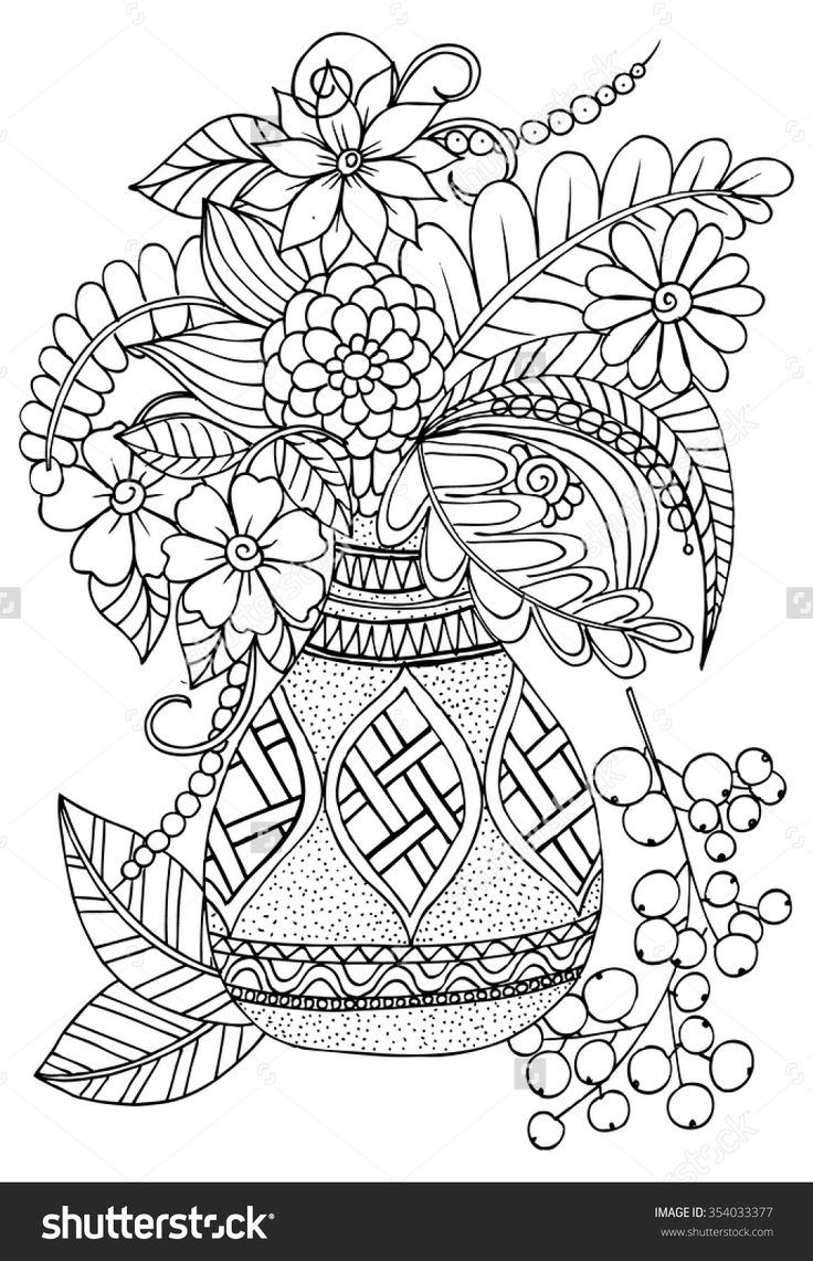 Floral vase colouring page Flower coloring pages