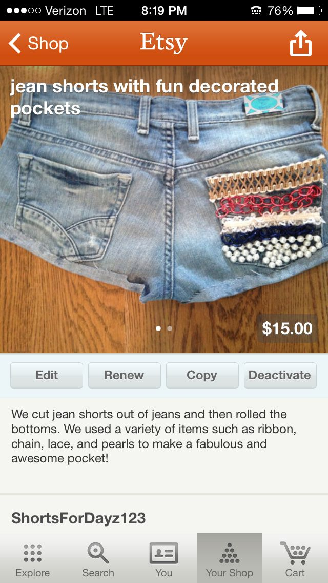 buy these awesome and cute shorts  on etsy- shortsfordayz123 I wish I had the talent to make these!!!