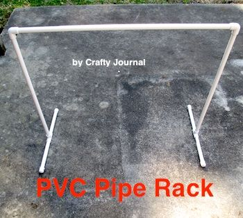 PVC Pipe Rack - Crafty Journal. Use it for a spare clothes rack, dry clothes in the laundry room, or hang wet rain gear on it to dry.