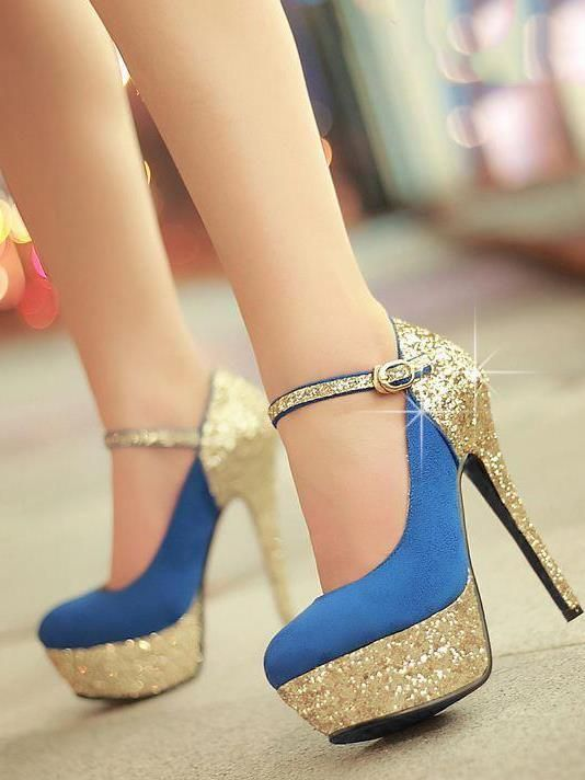 Ooh . . . blue and gold! Fashion All-matched Stiletto Heels Closed-toe Women's Shoes