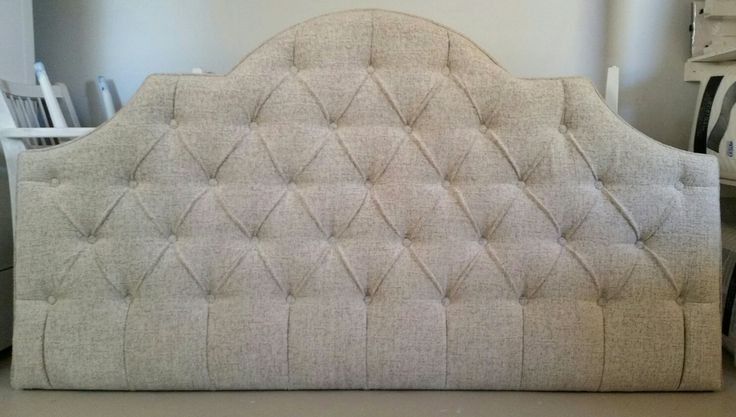 King chenille tweed neutral tufted upholstered headboard custom wall mounted