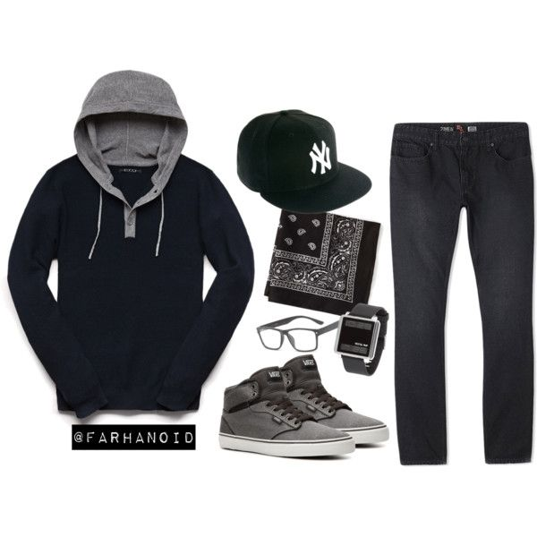 """Hoded Henley"" by farhanoid on Polyvore"