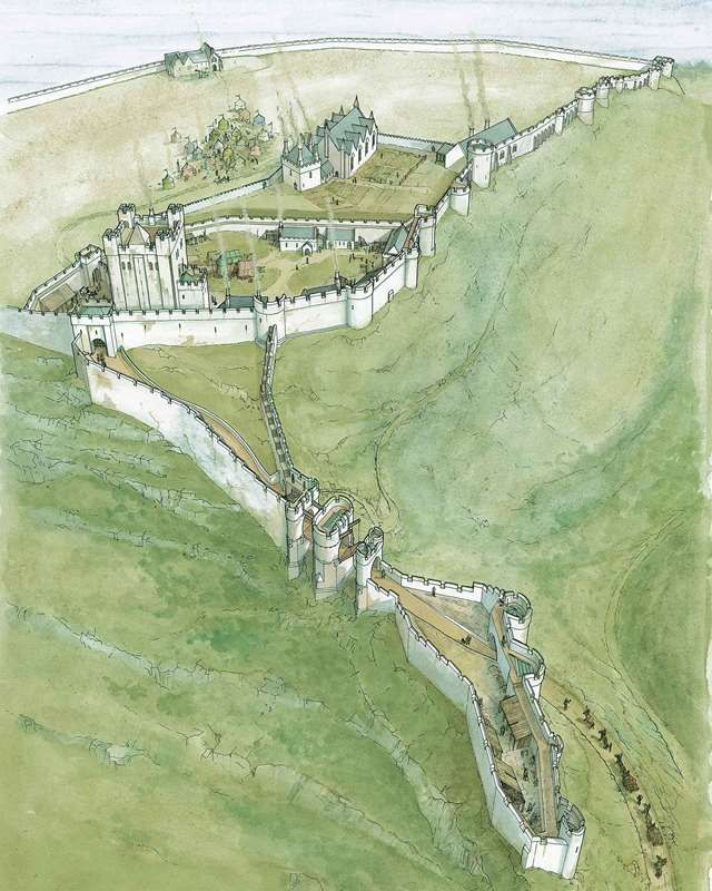 A reconstruction of Scarborough Castle and its landscape in about 1300 by Chris Jones-Jenkins