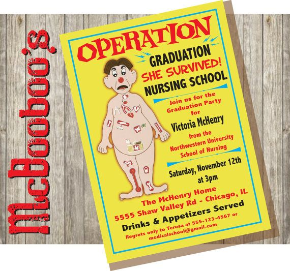 Operation board game inspired Nursing School  graduation party invitations. MUST HAVE!!