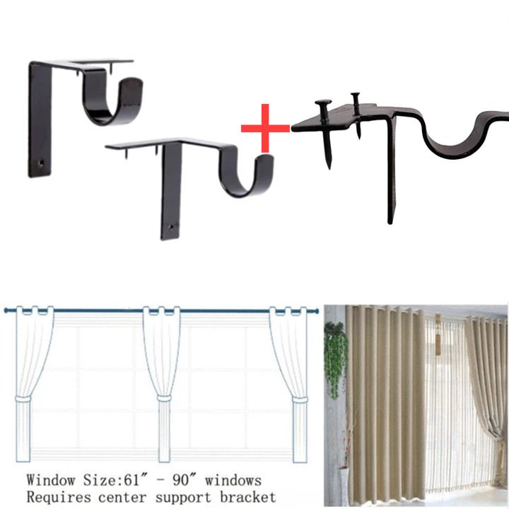 Last Day Promotion 50 Off No Drill Curtain Rod Brackets Holders 1 Busenl In 2020 Curtain Rod Holders Curtain Rod Brackets Curtain Rods