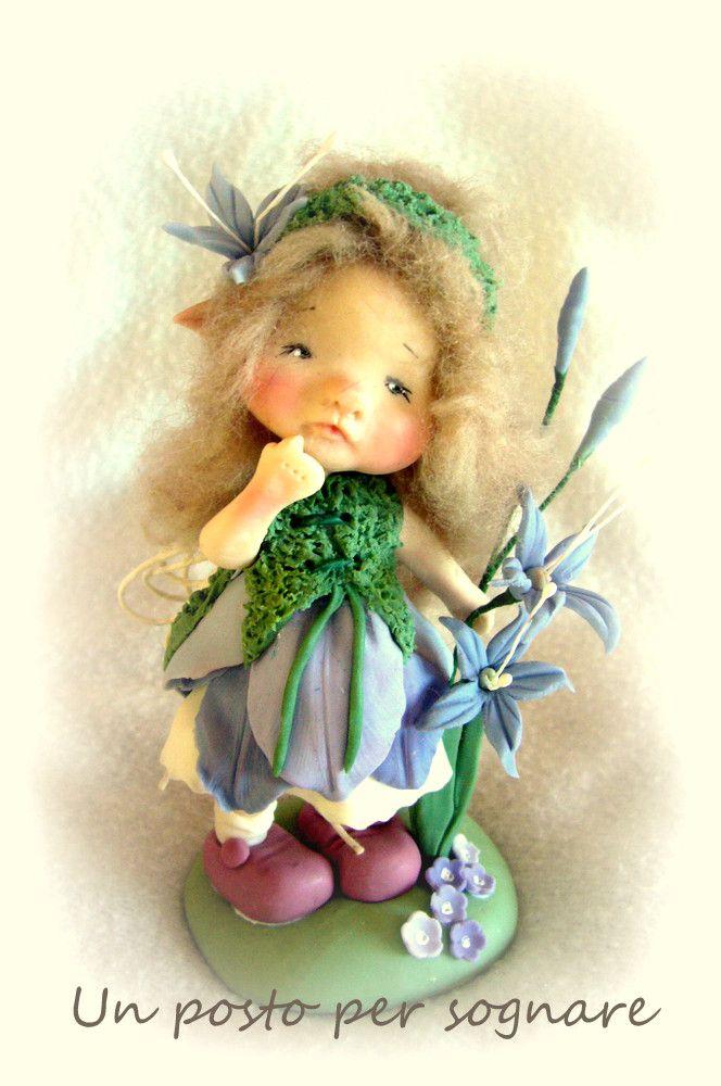 fiori porcellana fredda,folletti,creature del bosco,doll porcelana fria ,polimer clay,