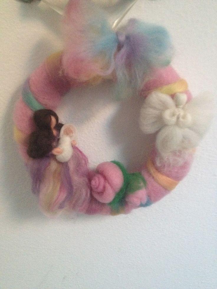 Il mondo della lana fiaba e cardata the world of fairy and carded wool: CORONA NASCITA,wreaths for babies