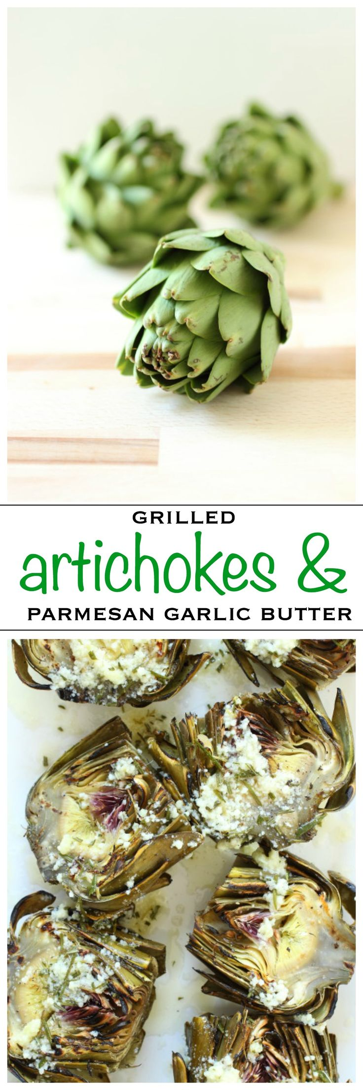 Grilled artichokes covered in a Parmesan cheese and garlic butter | Foodness Gracious